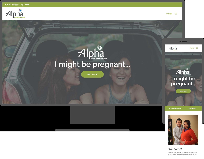 alpha website mock up