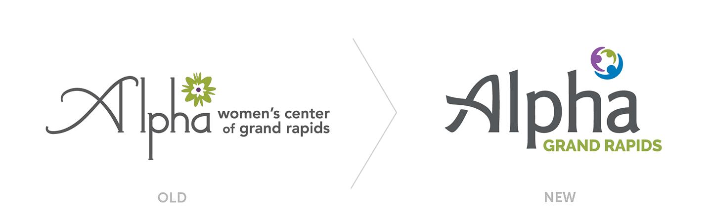 Alpha new vs old logo