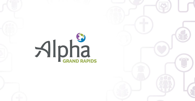 alpha logo on pattern