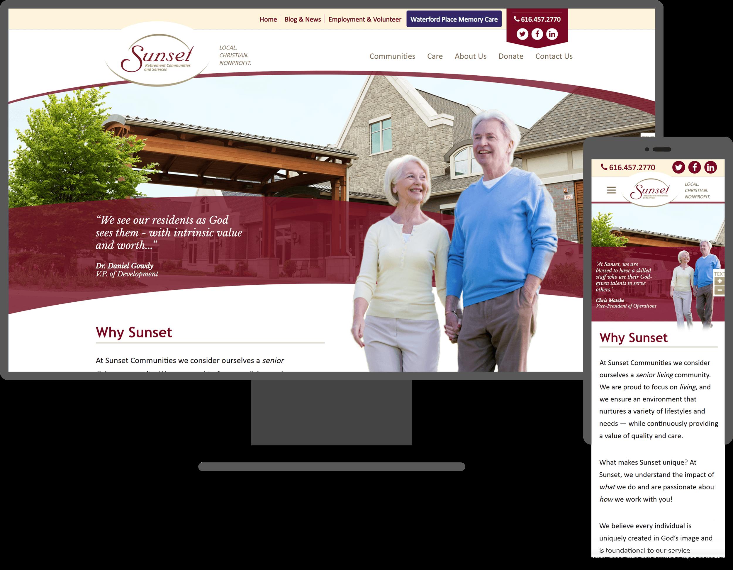 sunset website mockup screen sizes