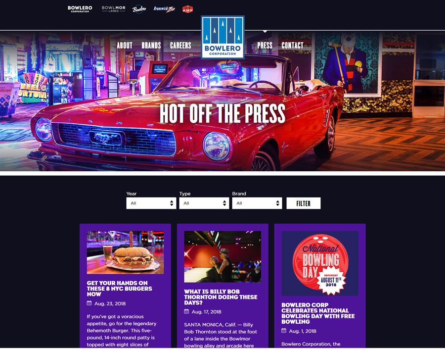 Bowlero Corporate Website Development