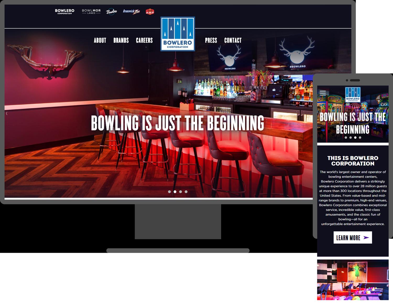 Bowlero website header