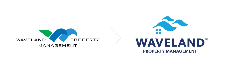 Waveland Property Management logo before and after.
