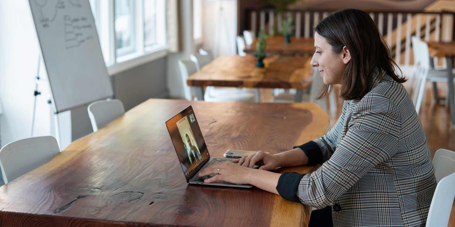 video call at large table